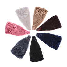 1 PC Winter New Charm Fashion Women Crochet Turban Hair Band Knit Flower Headband  Women Ear Warmer Headwrap 7 colors