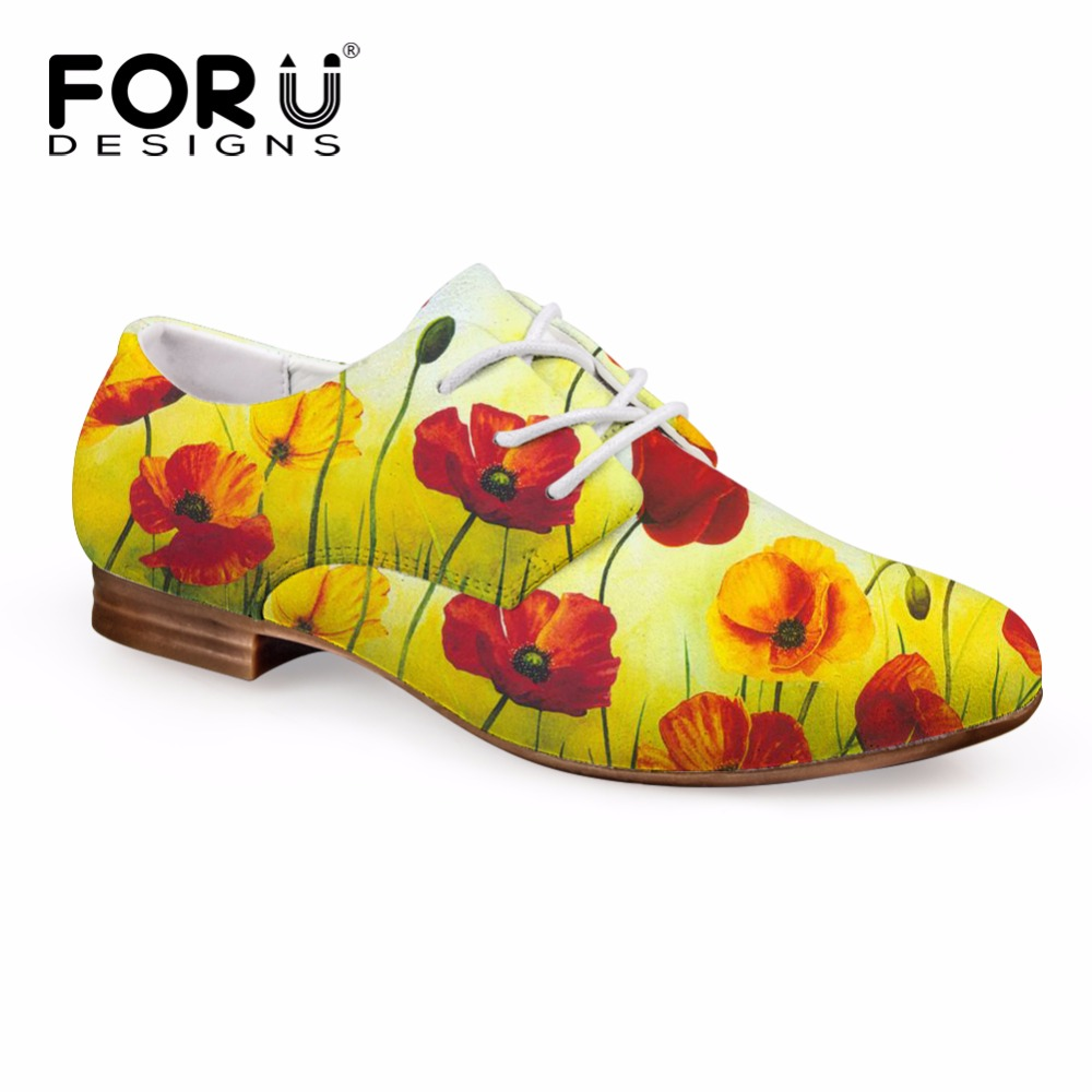FORUDESIGNS Flower Painting Fashion Spring Women Oxfords Shoes Flats Leather Dress Shoes for Female Oxford Shoes Zapatos Mujer <br>
