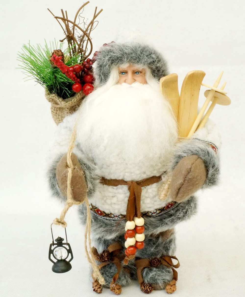 "Cosette 12"" Grey Christmas Father Santa Claus Decor Home Collection Holly Big Beard Lantern Hot Sale (30CM height)(China)"