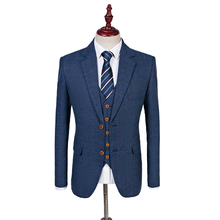 Latest Coat Pant Design Wool Blue Herringbone Retro gentleman Style Men Wedding Suits Tailor Blazer Groom Suits For Men(China)
