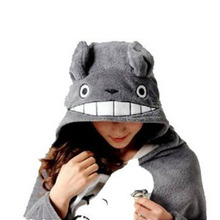 Hot Anime Lovely Plush Soft Cloak Totoro Cosplay Cloak Hoodie Totoro 4.5cm Cute Min Pin For Birthday Valentine Gifts(China)