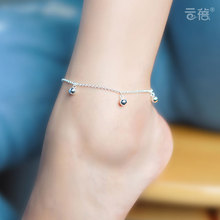 23cm+2cm simple Cute Full Balls beads sweet Korean female Women Anklets Jewelry 925 Sterling Silver Anklets Jewelry for gift