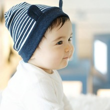 Soft Cotton Baby With Ear Stripe Beanie Toddler Infant Newborn Kids Cap Boys Girls Hat