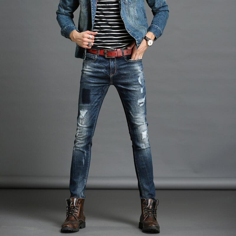 TIGER KNIFE2017Italian Style Fashion Pants Full Skinny Scratched Jeans Spring straight denim Men Stretch Denim Slim Jeans long cОдежда и ак�е��уары<br><br><br>Aliexpress