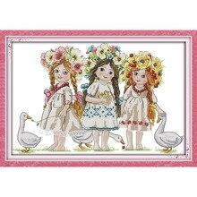 Молодые девушки малыш Ангел для декора картины Счетный напечатаны на холсте DMC 14CT 11CT вышивки крестом Рукоделие Набор вышивания(China)