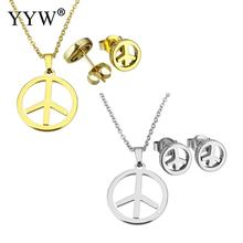 YYW Woman Choker Chain Necklace Set Gold-color Stainless Steel Jewelry Sets Punk Peace Logo Charm Stud Earring Pendant Necklaces(China)
