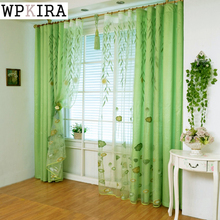Modern Tulle Window Kitchen Curtains Green Leaves Voile Living Room Luxurious Bedroom European Style Printed S023&10