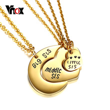 Vnox Forever Series Sister Necklaces Gold Color Broken Heart 3 Parts Pendant Necklace Stylish Friendship Girlfriend Jewelry(China)