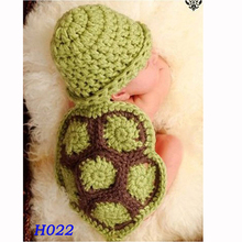Green Turtle Baby Hat with Cape Set Children Photography Props Newborn Baby Crochet Animal Beanie Costume Set H022(China)