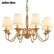 LED Chandelier Gold Vintage Wrought Iron Chandeliers Lighting Fixtures LED Hanging Lamp With Lampshade For Dining Room