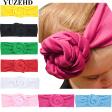 10Pcs/lot New Flower head band elastic cotton Kids headwrap Floral bead turban Newborns shower gift Newborn headbands