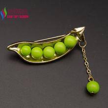 2016 Hot Sale Brooches Fashion Cute Green Beaded Golded Peas & Beans Costume Brooch Pins Accessories For Women alfileres broches