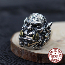 925 Sterling Silver Men's Rings Character Vintage World Warcraft Gift To Your Lover Jewelry 2017 Freeshipping New Hot Sale Real(China)