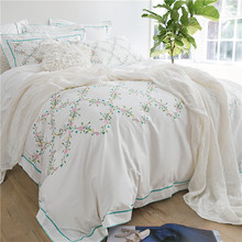 Pink Rose Embroidery Bedding Sets Pure Cotton Bedlinen Quilt Cover Pillowcases Bedsheet 4Pcs Queen King Size