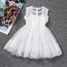 White Princess Wedding Tutu Dress Children Clothing Summer 2017 Formal Toddler Girl Party dress for Girls Clothes Kids Dresses(China)