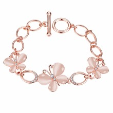 AMOURJOUX Opal Flower Rose Gold Color Charm Bracelets & Bangles With Clear CZ Female Clasp Bracelet Jewelry Woman Gift