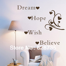 Large size free shipping Dream Hope Wish Believe Inspirational Words Removable Wall Quotes wall word art decals sticker q0142