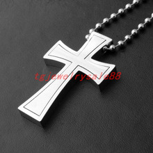 Polishing Silver Color Cross Pendant Necklace Men's Biker Stainless Steel Ball Chain Collars New Fashion Neck Gift Jewelry(China)