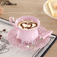 Elegant Brief Pink Coffee Cup Saucer Set Europe Princess Ceramic Tea cup 180ml Top Porcelain Teacup Tray Cafe Teatime Drinkware(China)