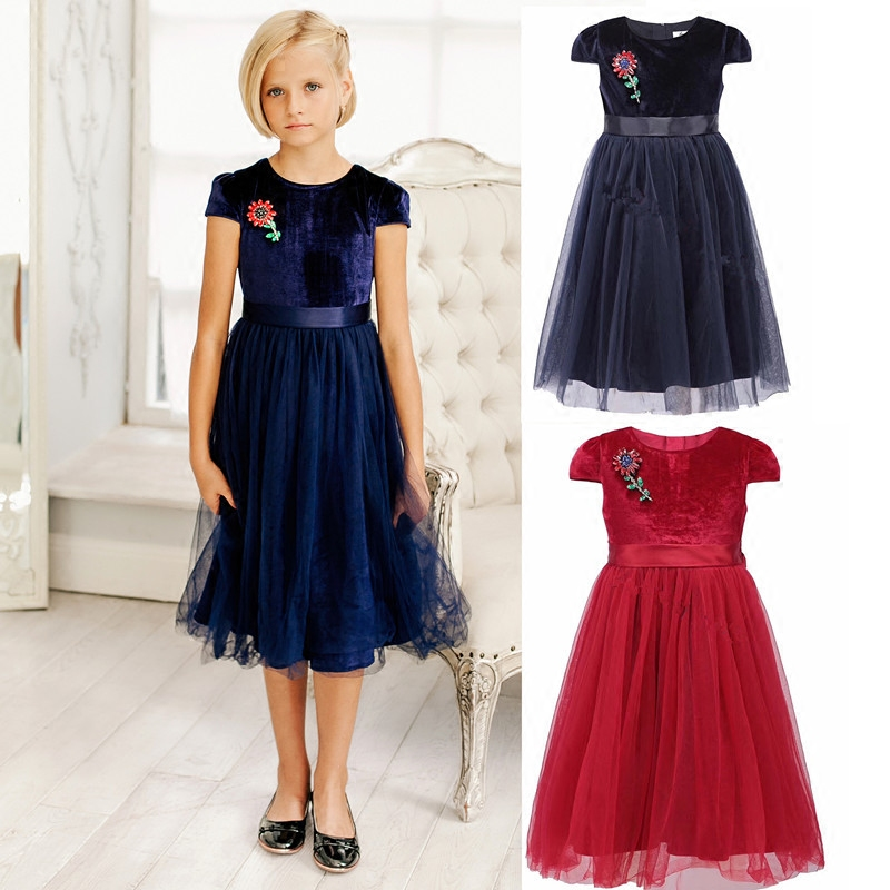 Brand Princess Flower Girl Dress Summer Tutu Wedding Birthday Party Dresses For Girls Childrens Costume Teenager Prom Designs<br>