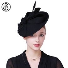 FS Fascinators Winter Hats For Women Elegant Black Wine Red Wool Felt Pillbox Hat Girls Ladies Formal Wedding Dress Hats(China)