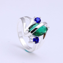 Fashion charm cheap silver plated rings us size 7 8 9 stock wholesale crystal vintage jewelry in purple blue women finger ring