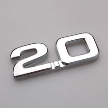 1pcs Car sticker 3D metal 2.0 emblem car-styling sticker badge Decals for renault toyota bmw ford focus 2 car sticker funny