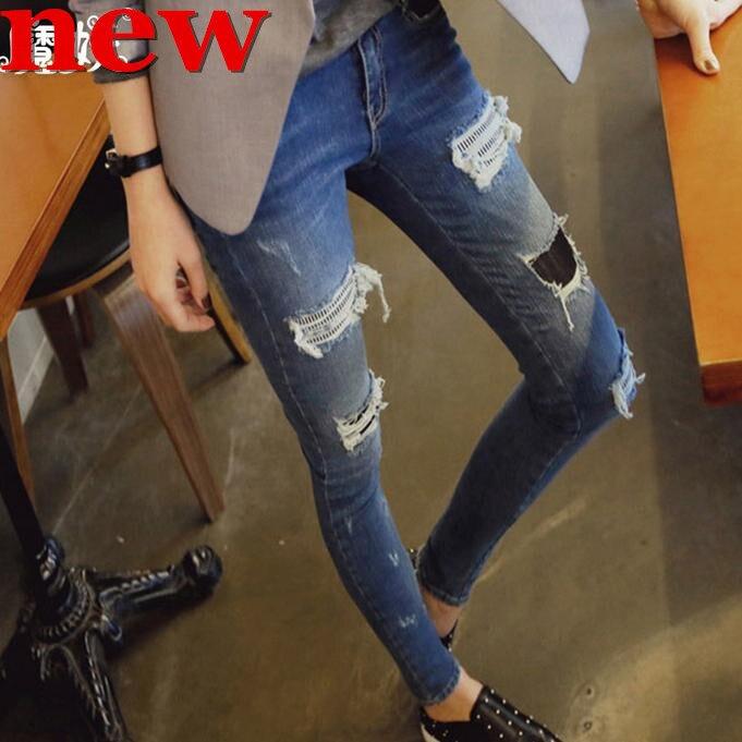 Jeans women Denim Stretch Pants pencil pants Hole pants feet Free shippingОдежда и ак�е��уары<br><br><br>Aliexpress