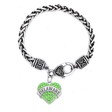 Customized Made Silver Plated Hearts In Crystal Charms Delaware Bracelets(China)
