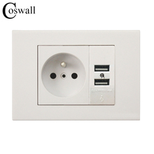 Coswall Wall Power Socket 16A French Standard Electrical Outlet With 1000mA Dual USB Charger Port for Mobile 118mm*80mm