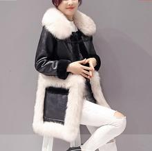 Women clothing Large size pocket Big hair collar Free shipping lamb long fur jacket coat / S-3XL