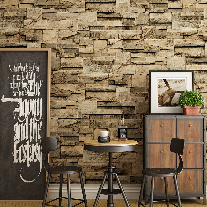 3D PVC Thick Waterproof Vinyl Wall Paper Rustic Pattern Faux Textured Brick Wall Effect Wallpaper for Bedroom and Living room<br>