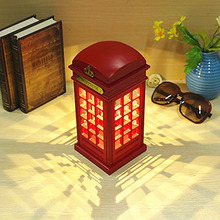 Vintage Telephone Booth Design USB Charging LED Night Lamp Touch Dimmable Table Desk Light for Home Shop Office Bar Decoration