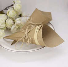 50pcs Wedding Favors Flower Cones Holder Ice Cream Style DIY Brown Kraft Paper Candy Boxes gift decor Wedding Party supplies