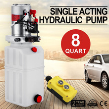 12V 8 Quart Car Lift Hydraulic plastic Pump Power Supply Unit Single Acting for Dump Trailer