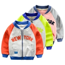 Baby baseball uniform jacket spring 2016 new children's clothing boys hit color baseball shirt collar shirt Children tide