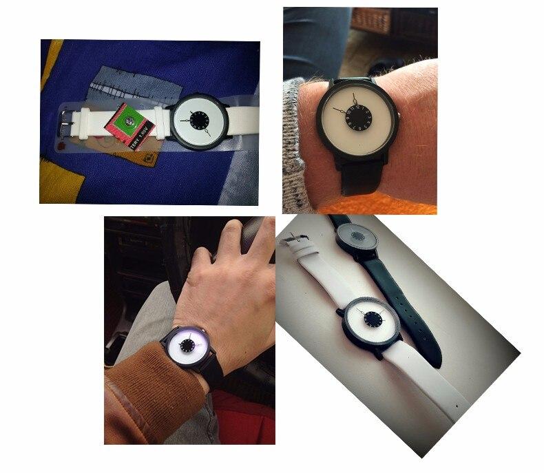 Hot fashion creative watches women men quartz-watch BGG brand unique dial design minimalist lovers' watch leather wristwatches 13