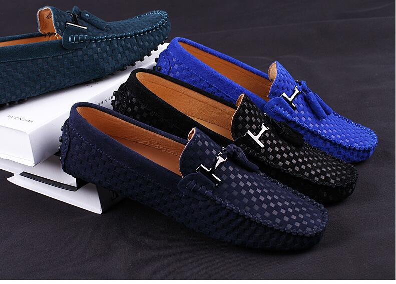 Men\'s Branded Suede Leather Shoes Moccasin Slip-on Flat Shoe Breathable Step-in Casual Driving Shoes For Men Penny Loafers Shoes (5)