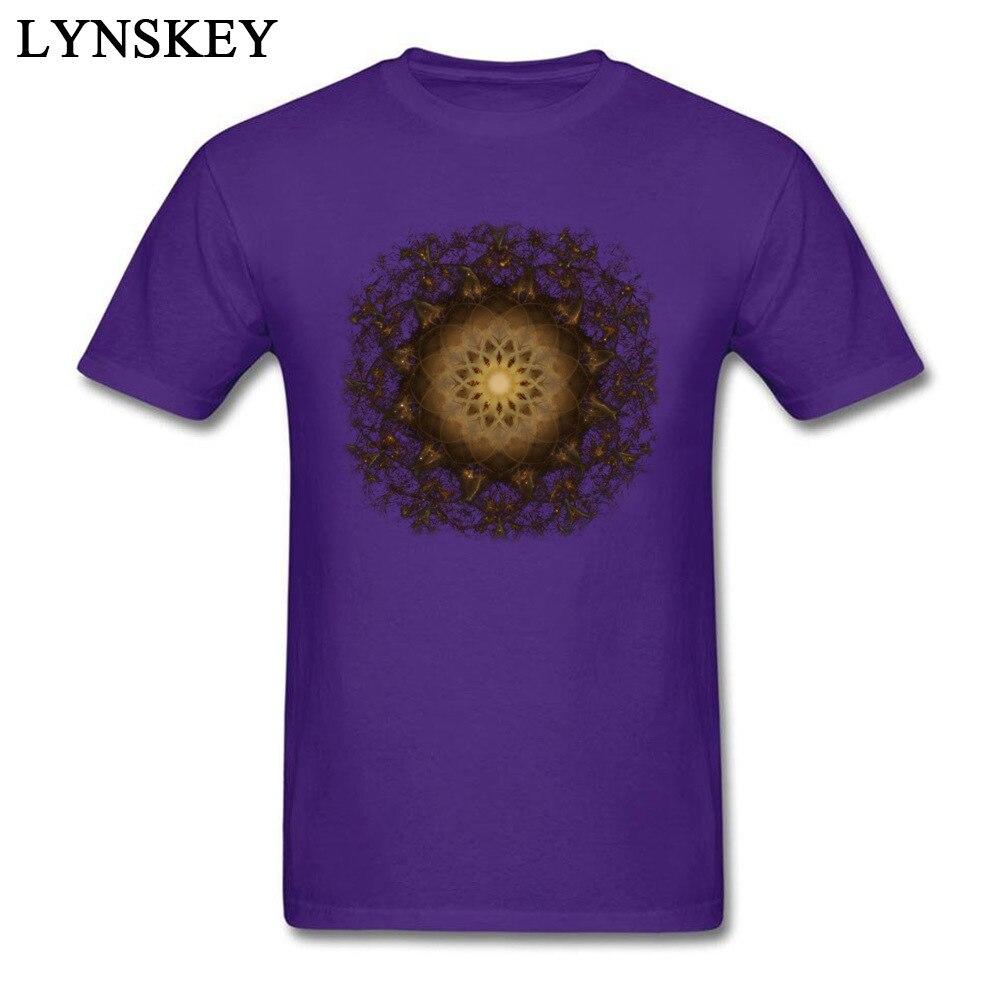 100% Cotton Tops Tees Copper Mandala for Boys Printed On T-Shirt Casual Prevailing Round Neck Short Sleeve Sweatshirts Copper Mandala purple