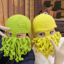Funny Handmade Octopus Hats For Halloween Party Props Winter Warm Knitted Wool Face Mask Beanies For Men Unisex Xmas Gift P20(China)
