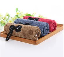 5pcs/lot!  100% Cotton Small Hand Towel 25 * 50 cm Face Towels Embroidery Lovely Cat Kids towel For Wash Gift