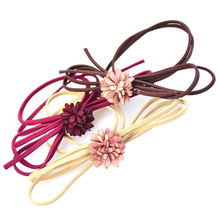 LOEEL New Arrival 5 Colors Sweet Cloth Bow Flowers Hair Circle Girls Hairband Rubber Band(China)