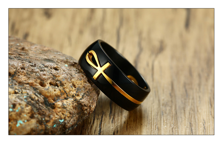 Meaeguet Personalized Separable Ankh Egyptian Cross Ring Black Color Stainless Steel Key of Life Wedding Bands Jewelry (3)
