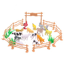 New Arrival 15pcs/lot Simulation Farm Animal Mini Action Figure Toys Children Game Toy Kids Puzzle Education Toy Gifts(China)