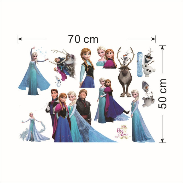 HTB1fYt9eLDH8KJjy1Xcq6ApdXXan - Fashion Cartoon Elsa Anna wall stickers girl Children room background decor stickers removable kids bedroom movie poster decal