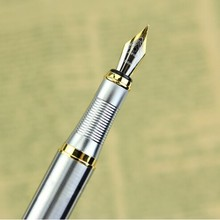 Top selling Silver Fountain Pen JINHAO 250 M Nib Gold Trim Removable Ink Converter(China)