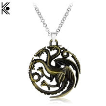 Targaryen Game of Thrones Dragon necklace Bronze Dragon jewelry Game of Thrones Necklaces & Pendants Maxi Punk Style Men Gift