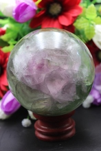 `Rare natural quartz crystal green fluorite best ball to heal A2(China)