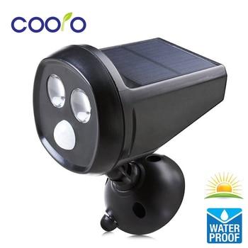 LED Solar Powered Motion Sensor Light 2LED Super Bright Solar Wall Light Waterproof PIR Motion Sensor LED Spotlight Night Light