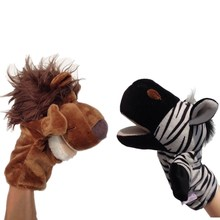 16 species of animal selection Hand Puppet Plush Puppets  Elephant   Monkey tiger lion Doll Baby Toy Finger story toy W017
